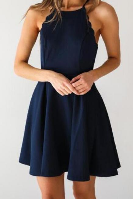 Beauty Dark Navy Homecoming Dresses,A Line Homecoming Dress,Simple Prom Dress, Sexy Homecoming Dress,Girls Party Dress,Short Cocktail Dresses,Navy Blue Prom Dresses