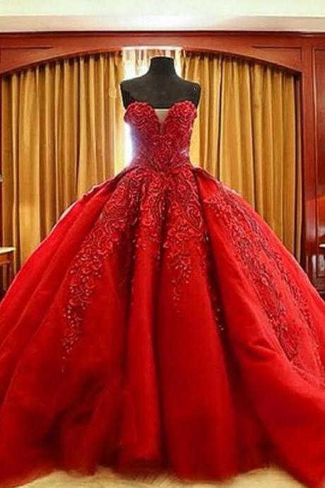 Ball Gown Prom Dress,Sexy Party Dress,Gorgeous Ball Gown,Red Prom Dress,Lace Prom Dress,Fashion Bridal Dress,Sexy Party Dress, New Style Evening Dress
