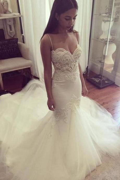 Spaghetti Strap Sweetheart Lace Beaded Mermaid Wedding Dress with Long Train