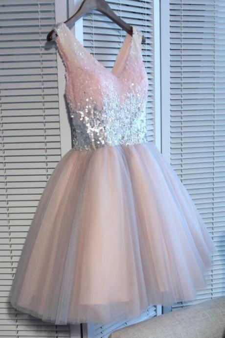 Sexy Homecoming Dresses,Sequin Homecoming Dress,A-line Homecoming Dress,Short Prom Dress,Pink Party Dresses,Tulle Homecoming Dress,Sequined Prom Dress