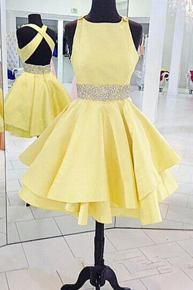 Stain Homecoming Dress,Short Homecoming Dress,Yellow Homecoming Dresses,Cross Back Homecoming Dress,Short Prom Dresses,Cute Party Dress, Beading Homecoming Dresses