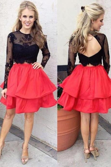 A-Line Homecoming Dress,Cheap Jewel Prom Dresses,Long Sleeves Homecoming Dresses,Open Back Prom Dress,Short Homecoming Dress,Lace Homecoming Dress,Red Homecoming Dresses