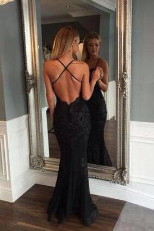 fashion Prom Dress,Sexy Black Prom Dresses,Mermaid Prom Dress,Lace Prom Dress,Backless Evening Gowns