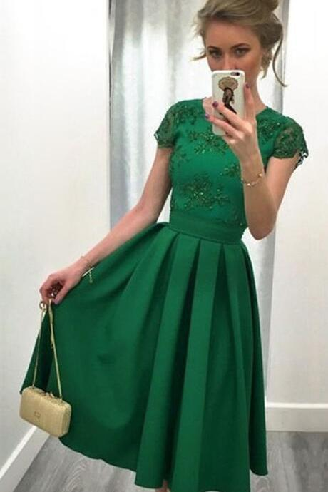 A-line Prom Dress,Lace Prom Dress,Scoop Neck Satin Tulle Prom Dresses,Short Prom Dress,Appliques Lace Backless Prom Dresses,Short Sleeve Prom Dresses,Green Prom Dresses