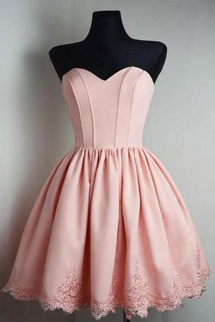 Pink Homecoming Dress,Simple Short Prom Dresses,Stain Homecoming Dress,A line Homecoming Dress,Graduation Dress,Simple Homecoming Dresses,Strapless Prom Dresses,Sweetheart Homecoming Dress