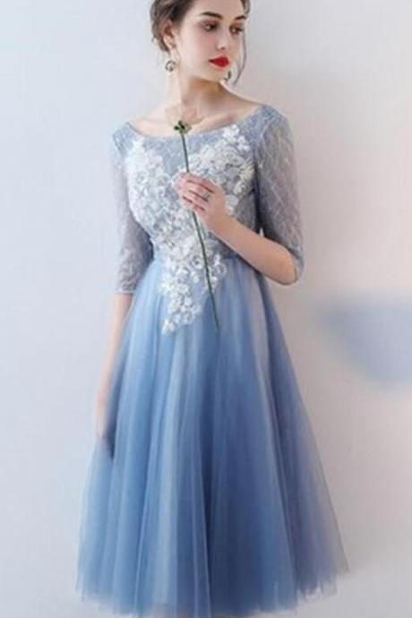 V-Neck Homecoming Dress,Knee-Length Prom Dresses,Tulle Homecoming Dress,Blue Homecoming Dress,Appliques Prom Dresses