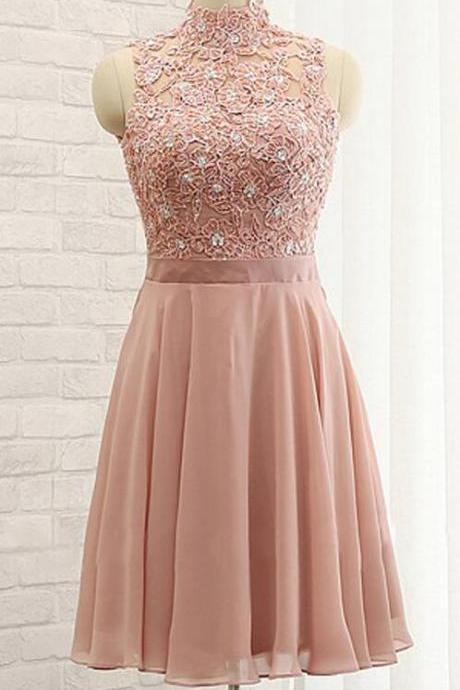Chiffon Homecoming Dress,High Neck Prom Dresses,Sleeveless Homecoming Dress,Stylish Homecoming Dresses,A-Line Homecoming Dress,Open Back Prom Gown,Short Homecoming Dress With Lace,Blush Pink Homecoming Dresses