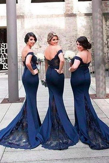 Gorgeous Prom Dress,Off-the-shoulder Mermaid Prom Dress,Long Navy Bridesmaid Dress, Prom Dress with Train, Navy Blue Prom Dress