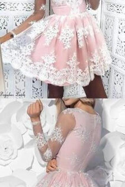 Sexy Lace homecoming dress,Lovely cute homecoming dresses,Fashion short homecoming dress for teens ,Long Sleeve Prom Dress