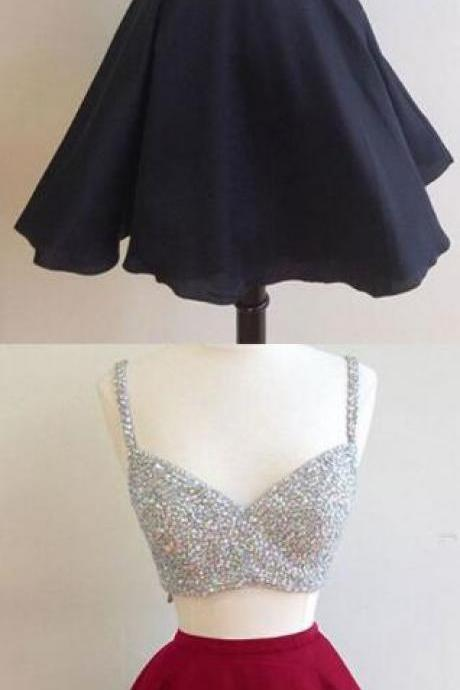 Two-piece homecoming dress , Stain homecoming dress,Beading homecoming dresses,short homecoming dress, Sexy Prom Dress