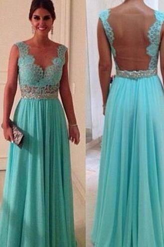Hot Sale Prom Dress,Cheap Turquoise Evening Dresses ,Lace Prom Dress,Sheer Neck Back Prom Dress,See Through Turquoise Blue Long Prom Dress