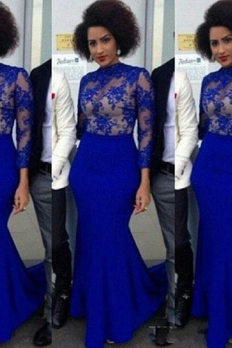Long Sleeve Lace Prom Dresses , Elegant Royal Blue Prom Dresses. Sexy Sheer Lace Prom Dresses, Long Mermaid Lace Illusion Evening Dress,Cheap Formal Gowns, Vintage Prom Dresses, Abendkleider, Elegant Royal Blue Formal Evening Dress