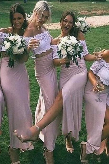 Off The Shoulder Bridesmaid Dress, White Lace Bridesmaid Dress,Cheap Bridesmaid Dress,Pink Bridesmaid Dress, Split Side Bridesmaid Dress, Sheath Bridesmaid Dress, Short Cap Sleeve Long Bridesmaid Dress, Cheap Wedding Party Dress
