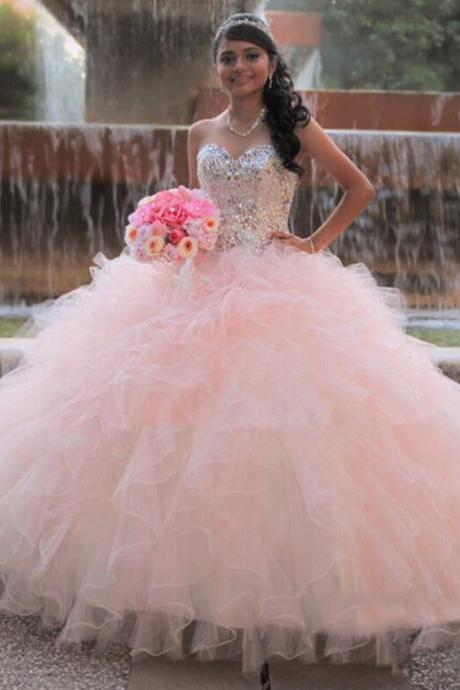 Ball Gown Prom Dress, Princess Pink Quinceanera Dress , Cheap Party Dress, New Quinceanera Dresses For 15 Year, Sweetheart Corest Ruffles Tiered Party Dress, Formal Pink Puffy Crystal Prom Dress Long, Tiered Ruffles Cheap Debutante Gowns
