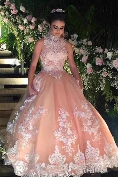 Vintage Champagne Prom Dress,Quinceanera Dress For 15 Year Girls, Lace Prom Dress,High Neck Ball Gown Lace Quinceanera Dress, Puffy 15 Year Girls Party Dresses, Sleeveless Vintage 16 Year Birthday Party Dress,