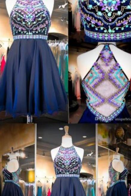 Sexy Beading Homecoming Dress,Charming Homecoming Dress,Luxury Crystal Prom Dress,Short Halter Prom Party Dress