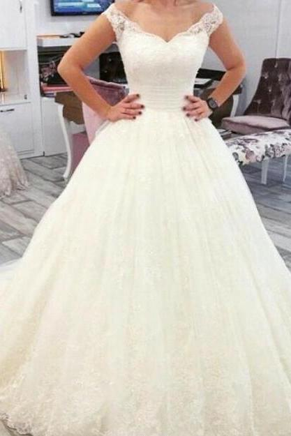 Lace Wedding Dress,Princess Wedding Dress,Cheap A Line Wedding Dresses,Tulle Bridal Dress with Lace