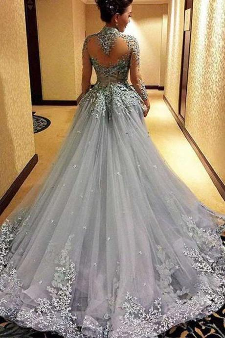 Princess Prom Dresses, Long Sleeves Prom Dress, Tulle Evening Dress, Gray Evening Dresses, Long Formal Dresses, Prom Dress