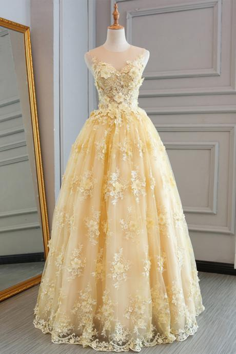 Yellow Prom Dresses,Lace Prom Dresses,Customize Prom Dress,Long Prom Dress,A-line Evening Dress,Senior Prom Dress,Halter Evening Dress