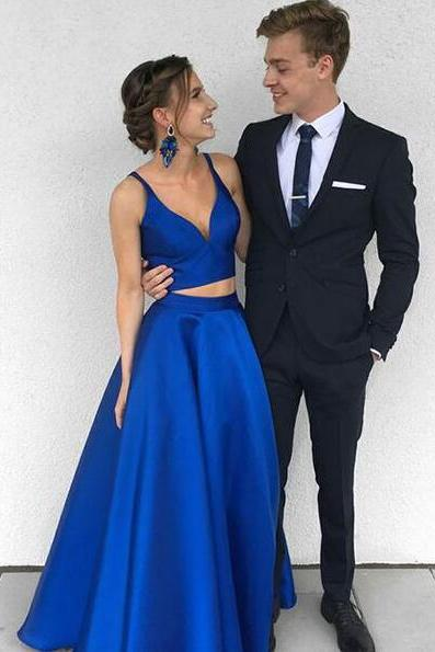 Two Piece Prom Dress,Cheap Prom Dress,Stain Prom Dress,Royal Blue Long Prom Dress, Evening Dress, Simple V Neck A-line Prom Dresses, Burgundy Prom Dresses, Prom Dress for Teens