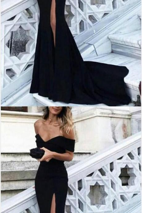 Sexy Prom Dress,Off Shoulder Prom Gowns, Mermaid Prom Dress,Long Evening Dress,Jersey Mermaid Evening Gowns, Black Prom Dresses