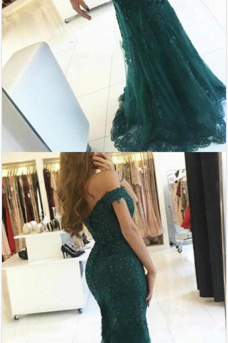 Charming Lace Prom Dress,A Line Prom Dress,Dark Green Prom Dress,Cheap Prom Dress,Long Prom Dresses,Formal Evening Dress,Beaded Prom Gown,Mermaid Prom Dresses
