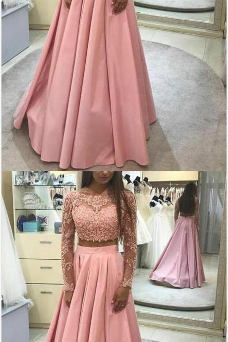 Long Sleeves Prom Dress,Two Piece lace Prom Dress, Cheap Prom Dresses, A Line Prom Dresses, Blush Pink Prom Gowns, Prom Dress for Teens