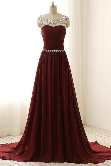 Burgundy Prom Dress , Red Prom Dresses,Long Prom Dress,Chiffon Prom Dress,,Graduation Party Dresses, Formal Dress For Teens, Sexy Sheer Chiffon Long Party Dress