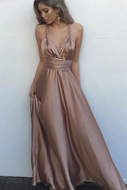 Sexy Prom Dress,A-Line Prom Dress,V-Neck Sleeveless Prom Dress,Criss-Cross Floor-Length Prom Dress, Backless Prom Dresses, Simple Prom Dress, Sexy Party Dresses