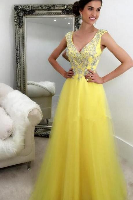 Long Cheap Prom Dresses, V-Neck Prom Dress,Beading A-Line Prom Dress ,Evening Dress Prom Gowns, Formal Women Dress