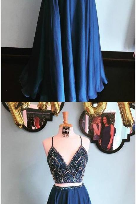 Sparkly Two Piece Prom Dress,Sequins Navy Blue Prom Dress,Beading Prom Dress,Cheap Prom Dress,Long Prom Dress