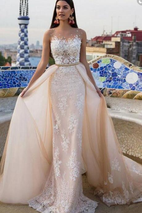 Sheath/Column Long Wedding Dresses, Sexy Wedding Dress,Champagne Sheath/Column Wedding Dresses, Luxury Wedding Dresses Sheath/Column Detachable Train Appliques Tulle Bridal Gown