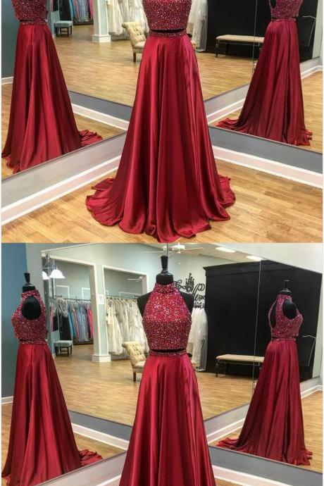 Two piece Prom Dress,Chiffon Prom Dress,Sexy Beading Prom Dress,Long Prom Dress,Fashion Beaded Prom Gown,Red Prom Dress 2018