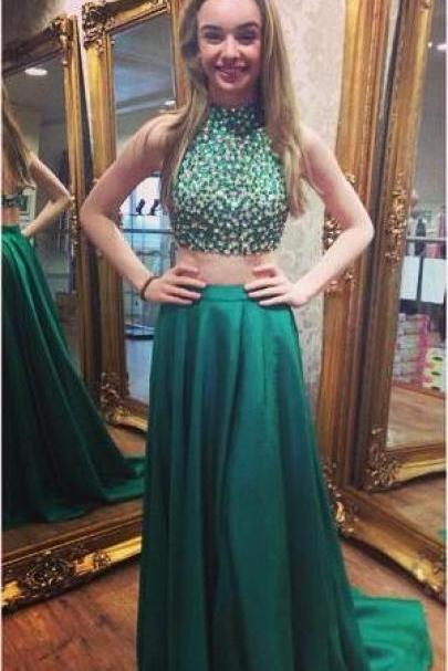 Beaded Party Dress,Beading Prom Dress,Two Piece Prom Dress,Green Prom Dress,Halter Neckline Two Pieces Graduation Dress,Green 2 piece Prom Gown