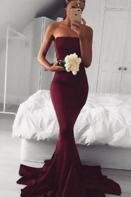 Burgundy Prom Dress,Strapless Wedding Guest Dress,Mermaid Prom Dress,Sexy Prom Dress,Cheap Prom Dress, Mermaid Burgundy Bridesmaid Dress