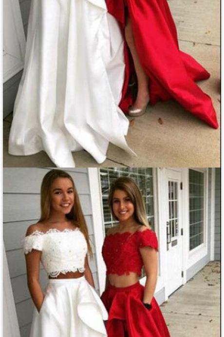 Sexy Two Piece Prom Dress,Cheap Prom Dress,Appliques Evening Dress, Sexy Evening Dress,Long Prom Dress, Formal Prom Dresses