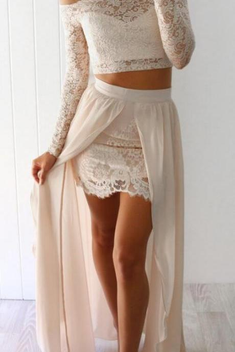 2 Piece Prom Dress,Sexy Prom Dress,Lace Prom Dresses,Long Sleeves Beige Long Prom Dress with Slit