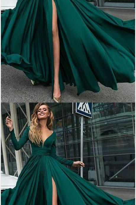 Green Prom Dress,A-Line Prom Dress,Mermaid prom Dress,Princess V-Neck Prom Dress,Long Sleeves Prom Dress,Cheap Prom Dress,Sweep/Brush Train Ruffles Satin Dresses