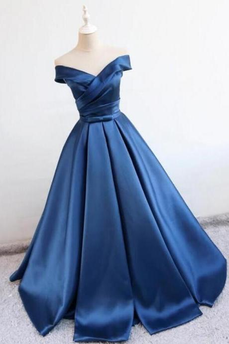 Sexy Prom Dress,Off Shoulder Sleeveless Prom Dress,Stain prom Dress,Navy Blue Prom Dress,A line Navy Blue Evening Dress