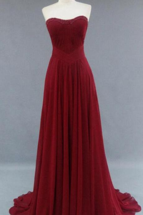 Burgundy Prom Dresses , Charming Prom Dress,Chiffon prom Dress,High Quality Simple Long Prom Dresses , Evening Dresses