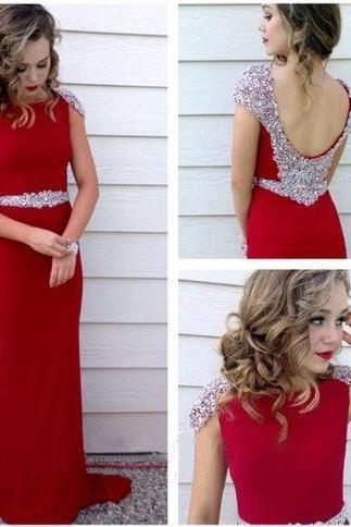 Long prom dress, Beading prom Dress,Chiffon Prom Dress,red prom dress, party prom dress, chiffon prom dress, cheap prom dress, sheath prom dress