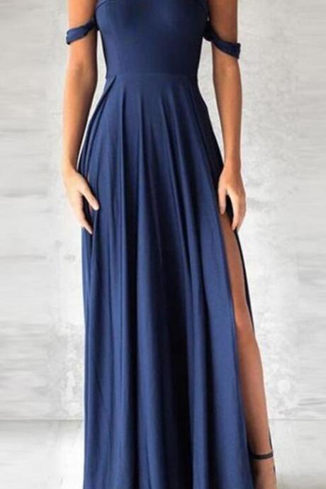 navy blue prom dress, elegant Prom Dress,Long Prom Dress,Sexy fashion off the shoulder party dress with split