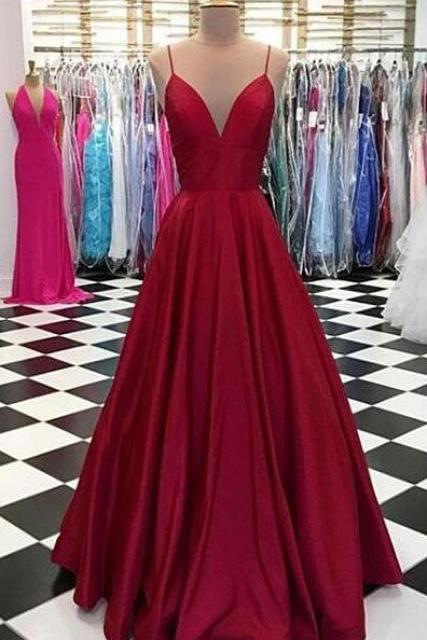 Simple Spaghetti Straps Prom Dress,A Line CHiffon Prom Dress,V-Neck Burgundy Prom Dress,Satin Formal Dress
