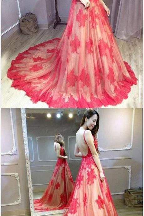 Straps A-Line Lace Prom Dress,Red V-Neck Prom Dress,Mermaid Prom Dress,Sweep Train Backless Evening Dresses,2018 Formal Dresses
