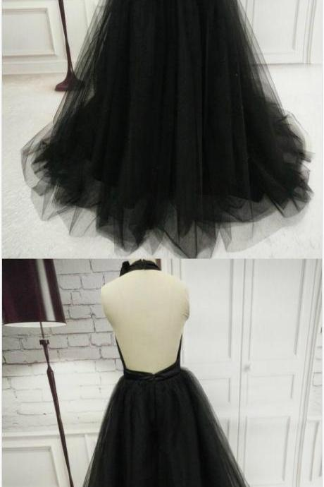 Elegant Black Halter Prom Dress,Sexy prom Dress,Long Tulle Prom Dress,Backless Bowknot Evening Dress,Fashion Ball Gowns