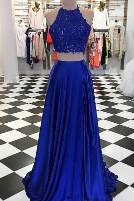 Royal Blue Prom Dress,Lace Prom Dress,Sexy Two-Piece Long Prom Dress with Lace Top,Blue Evening Dress with Split