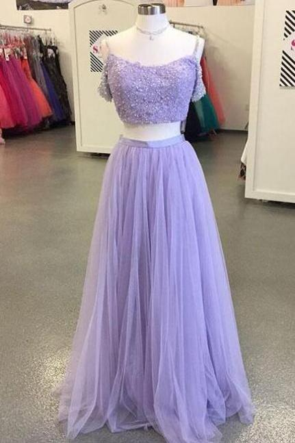 Light Purple Prom Dress,Cheap Prom Dress,Lace Prom Dress,Tulle Long Prom Dress,Two-Piece Lace Evening Dress,Off The Shoulder Prom Party Gowns