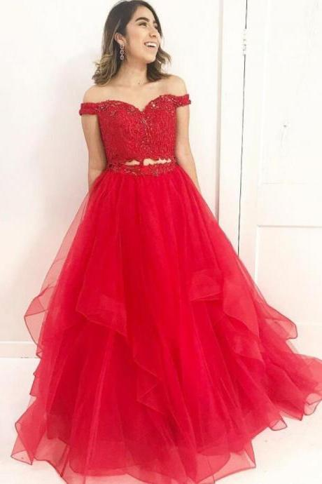 Elegant Red Prom Dress,Tulle Prom Dress,Sexy Two-Piece Lace Beaded Prom Dress,Applique Two Piece Formal Dresses