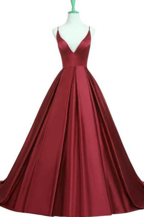 Satin Dark Red Prom Dress,Stain Prom Dress,V Neck prom Dress,Long V-Neck Open Back Prom Dress, Charming A Line Prom Party Dress, Cross Back Party Dresses