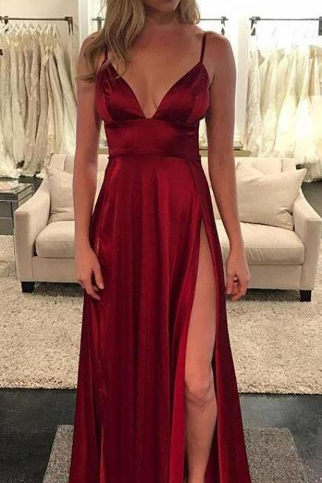 Sexy burgundy Prom Dress,Long Prom Dress,Sexy Prom Dress,Cheap Prom Dress,v neck long prom dress, burgundy evening dress